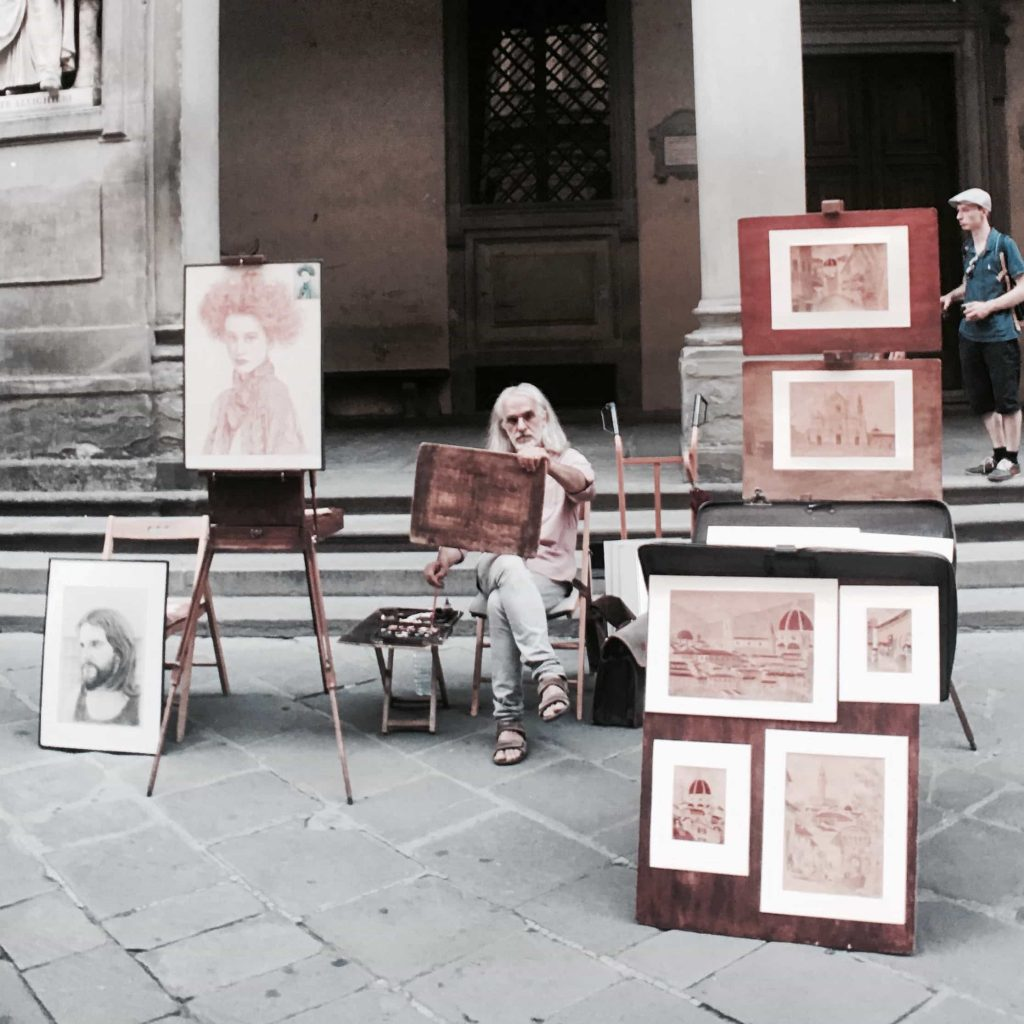 Painter at work in the streets of Firenzen Taken in July 2016